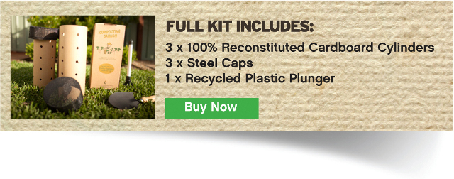 Starter kit includes 3 cardboard cylinders, 3 steel caps and 1 recycled plastic plunger